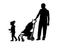 Ojciec z dzieckiem i pram Zdjęcia Stock