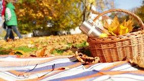 Ojciec z syna odprowadzeniem przy jesień parkiem blisko ich pyknicznej koc z koszem jedzenie i gorąca herbata zdjęcie wideo