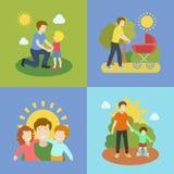 Ojcostwo ojciec bawić się z dziećmi ilustracyjnymi Fotografia Royalty Free