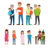 Ojcowie Trzyma dzieciaków na rękach i dzieciach Ustawiających ilustracji