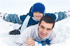 ojcuje jego syna Zdjęcie Royalty Free