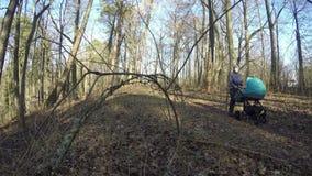 Ojcuje pchnięcia dziecka fracht w wiosny lasowej ścieżce 4K zbiory wideo