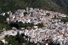 Ojen, Andalusia, Spain. View of the town and surrounding countryside, Ojen, Malaga Province, Andalusia, Spain, Western Europe Stock Photography