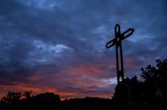 Ojen. Sunset on the Cruz de Juanar Royalty Free Stock Photography