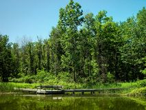 Ojibway Park Boardwalk and Pond. In Summer Stock Photography