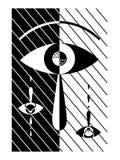Ojo abstracto con los rasgones en fondo blanco y negro stock de ilustración