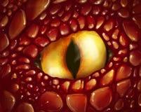 Ojo amarillo del dragón stock de ilustración