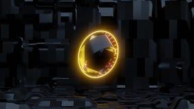 Ojo amarillo del scifi con el fondo extranjero de la nave ilustración del vector