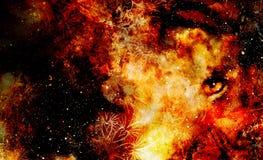 Ojo animal místico en el espacio, collage multicolor del gráfico de ordenador Foto de archivo