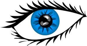 Ojo azul con los latigazos Imágenes de archivo libres de regalías