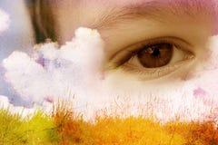 Ojo azul del niño Fotos de archivo libres de regalías