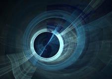 Ojo azul en forma del fractal en lona negra stock de ilustración