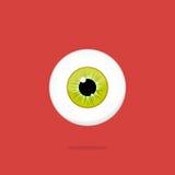 Ojo de color verde amarillo humano aislado en fondo rojo Alumno del iris del globo del ojo Fotos de archivo libres de regalías