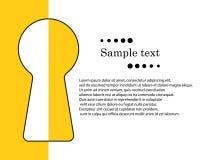 Ojo de la cerradura con el espacio para el texto El concepto de la información secreta, privada, clave privada del acceso con lla libre illustration