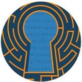 Ojo de la cerradura de Digitaces Icono del extracto de la cerradura de la encripción de datos ilustración del vector