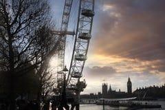 Ojo de Londres con Ben grande Foto de archivo libre de regalías