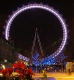 Ojo de Londres en la noche Foto de archivo libre de regalías