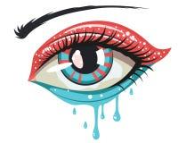 Ojo de los colores de azul rojo