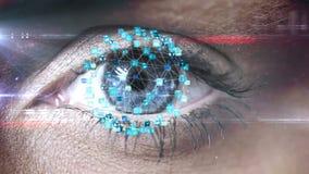 Ojo del centelleo con el interfaz de la tecnología almacen de metraje de vídeo