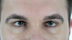 Ojo del centelleo del hombre envejecido centro, cierre para arriba almacen de video