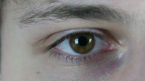 Ojo del centelleo del hombre joven, cierre para arriba almacen de metraje de vídeo
