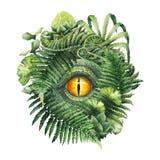 Ojo del dinosaurio de la acuarela y plantas prehistóricas Fotografía de archivo libre de regalías