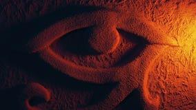 Ojo egipcio que divide el Lit con la antorcha del fuego metrajes