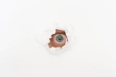 Ojo en el agujero del Libro Blanco Imágenes de archivo libres de regalías