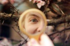 Ojo en la reflexión de espejo imagen de archivo