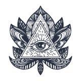 Ojo en Lotus Tattoo Foto de archivo libre de regalías