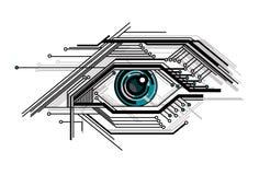 Ojo estilizado de la tecnología conceptual Imágenes de archivo libres de regalías