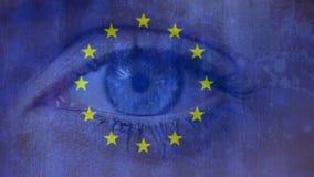 Ojo europeo de la bandera y del centelleo