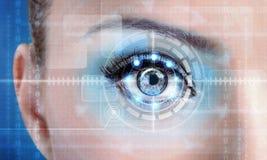 Ojo femenino de la exploración de la tecnología para la seguridad o la identificación