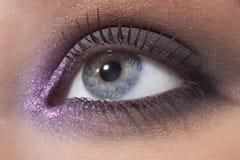 Ojo femenino hermoso en un maquillaje de moda imágenes de archivo libres de regalías