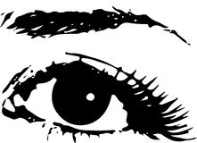 Ojo femenino humano con la ceja como vector Diseño del icono sobre blanco Foto de archivo