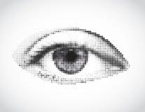 Ojo gris de la mujer abstracta hecho de puntos. Vector Foto de archivo libre de regalías