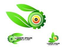 Ojo, hoja, botánica, engranaje, logotipo, verde, visión, símbolo, naturaleza, cuidado, óptico, vector, icono, diseño, sistema Fotos de archivo libres de regalías