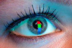 Ojo humano con la reflexión de la RGB-señal. Fotos de archivo libres de regalías