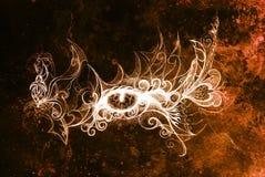 Ojo místico y ornamental hermoso Dibujando en el papel viejo, drenaje original de la mano Efecto del color Foto de archivo libre de regalías