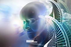 Ojo que anticipa contra las estructuras de la DNA Fotos de archivo libres de regalías