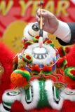 Ojo que puntea la ceremonia para el baile del león Imagen de archivo