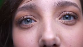 Ojo-retrato del primer del estudiante moreno joven que mira atento en cámara en fondo verde metrajes