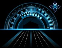 Ojo tecnológico brillante HUD en un fondo negro Lente con la abertura Exhibición de la cabeza-para arriba Camino, carretera Ilust ilustración del vector