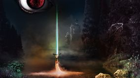 Ojo y espada de la magia ilustración del vector