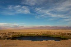 Ojos盐平底锅,阿塔卡马沙漠的del撒拉族或者眼睛, 免版税库存照片