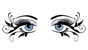 Ojos azules florales con remolinos libre illustration