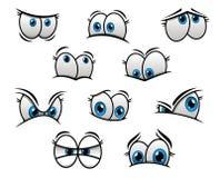 Ojos azules grandes en historieta o estilo cómico Fotos de archivo libres de regalías