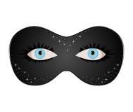 Ojos azules ocultados bajo máscara de teatro Imagen de archivo
