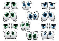 Ojos azules y verdes de la historieta Fotografía de archivo libre de regalías