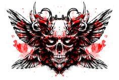 Ojos chispeantes del cráneo del demonio ilustración del vector